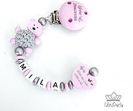 Schnullerkette mit Namen - Kleine Prinzessin - Wenn aus Liebe Leben wird - Bär - Häkelperle - Mädchen - rosa - silber - A016