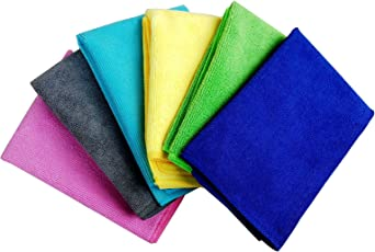 Pellcaso Microfiber WipeWash Cleaning Cloth Duster for Car, Motorbike, Home and Kitchen, 40x40cm (Multicolour, MCC-4432-6MULT) - Pack of 6