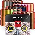 Arteza Kleurpotloden-set, 120-delig, zachte kleurpotloden om mee te tekenen, schetsen en kleuren, Metalen kleurdoos met potlo