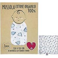 Mussola Neonato In Cotone Morbido ed Organico per Bimbi E Bebè. Ideale Come Asciugamano Copertina Lenzuolino Per Culle…