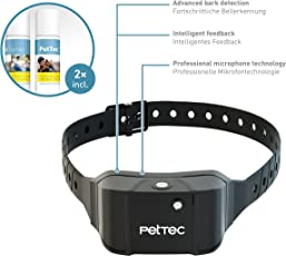PetTec Antibark Spray Trainer Advance Antibell Erziehungshalsband mit automatischem Sprühsignal, inkl. 2 Sprays (Neutral Oder citronella), aufladbarer Akku, Staub- und spritzwassergeschützt