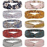Folora 10pcs Multicolored Twisted Criss Cross Elastic Headbands Soft Chiffon Floral Bohemian Hair Bands for Women Girls