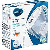 BRITA Marella blanca – Jarra de Agua Filtrada con 1 cartucho MAXTRA+, Filtro de agua BRITA que reduce la cal y el cloro, Agua