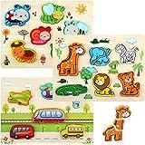 LinStyle Puzzles de Madera, Montessori Puzzle de Madera, Rompecabezas Madera Niños Preescolar Juegos y Juguetes Educativos In
