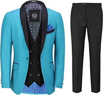 Mens 3 Piece Tuxedo Suit Wedding Party Tailored Fit Turquoise Blue Dinner Jacket