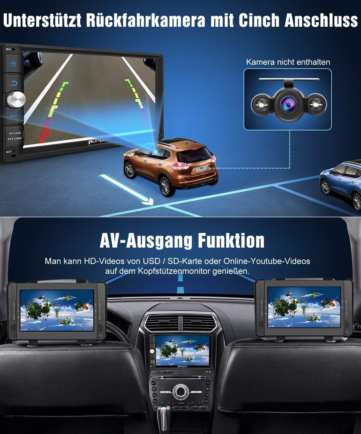 PUMPKIN-Android-90-Autoradio-Moniceiver-mit-Navi-4GB-32GB-Untersttzt-Bluetooth-Tethering-DAB-Android-Auto-WiFi-4G-USB-MicroSD-2-Din-7-Zoll-Bildschirm