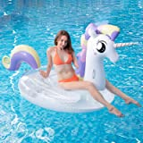 Myir Piscina Gigante Gonfiabile Trasparente Unicorno con Paillettes, Galleggiante Gonfiabile per Adulti Bambini, Giocattoli G