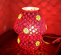 TIED RIBBONS Multicolour Mosaic Style Dome Shaped Glass Table Lamp for Gift & Home Décor | Table lamp for Living Room | Show Piece for Gift | Christmas Decor for Home | Christmas Gift Hampers