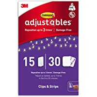 Command Adjustables Repositionable Transparent Clips, 15 Clips and 30 Strips, Holds up to 225g