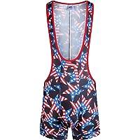 F plus R Men's High Waist American Flag Wrestling Singlet Bodywear Uniform