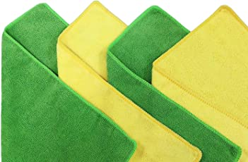 MSI WipeWash 4 Pcs Microfiber Cloth Kitchen Towels,Wipes,Napkin, Home Cleaning, Car Duster (2 Yellow 2 Green)