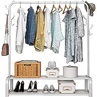 UDEAR Portant Penderie à vêtements Tringle Meuble Métal Porte-Manteau étagère pour Chaussures Rangement avec 6 Crochets…