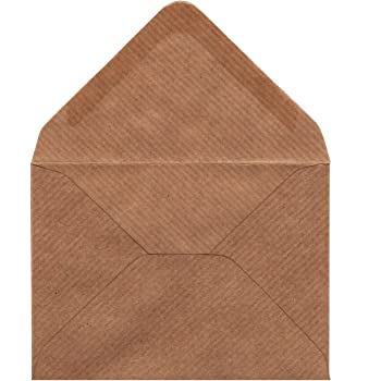 50 x C7 Ribbed Kraft Envelopes - 100 GSM - for Small A7 Greeting Cards, Wedding Invitations, Thank You Cards