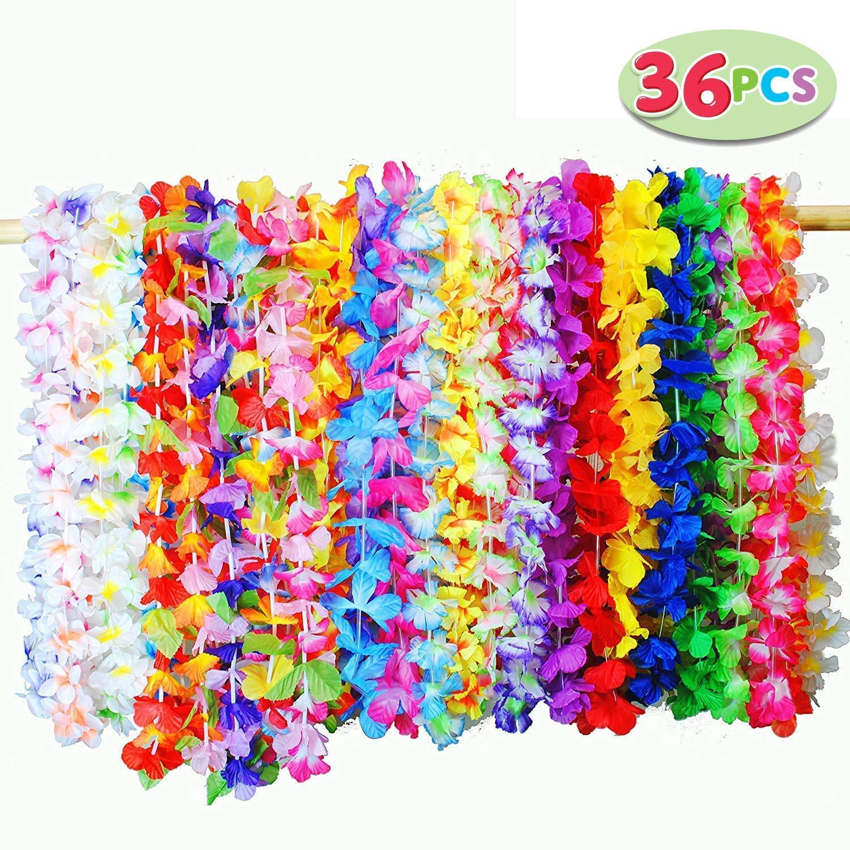 JOYIN 36pcs Collares Hawaianos FiestaVenda del Partido Hula Hawaiian Lei Flor Guirnalda para Luau Summer Playa Tema Fiesta