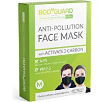 BodyGuard Reusable Anti Pollution Face Mask with Activated Carbon, N95 + PM2.5 for Men and Women - Medium (Black)