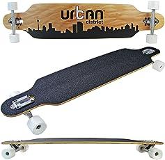 Unbekannt Longboard Skateboard Holz 105cm 41 inch Komplettboard Black High Speed Kugellager ABEC 7 Weiche Rollen Weiß Skater Cruiser