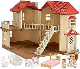 Sylvanian Families 2748 - Stadthaus mit Licht Geschenk-Set Sissi und Baby Mäxchen Knacks, bunt