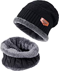 Tagvo Winter Mütze Hut Schal Set Super Soft Fleece Innenfutter Super Warm, Stretchy Strick Beanie Cap Elastic Nackenwärmer Snugly Fit für Männer Frauen Damen Mädchen Jungen Erwachsene Kinder