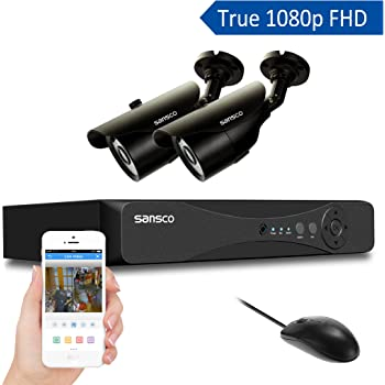 [TRUE 1080p HD] SANSCO 4 Channel 1080P DVR Recorder CCTV Security System with 2x Super FHD 2.0MP Outdoor Camera (1920x1080, Rapid USB Storage Backup, Vandal-Proof, Improved Night Vision, No Hard Drive, Mobile App: Xmeye)