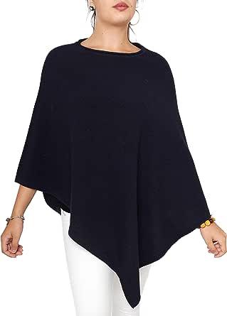 Fantasie Terrene Poncho Cashmere Donna, Fatto a Maglia in Filato Misto Cashmere di Alta qualità. Made in Italy. Colore Blu