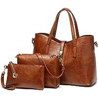 TcIFE Handtasche Damen Groß Handtaschen Set Für Frauen Umhängetasche Taschen 3-Teiliges Set