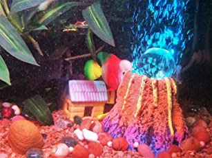 Jainsons Aquarium Decorative LED Volcano Submersible Light with Air Stone, Random Colors