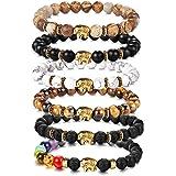 YADOCA 6-8 Pcs 8MM Pierres Bracelet Homme Femme Oeil du Tigre Pierre de Lave 7 Perles de Chakra Cuir Bracelet Corde Elastique