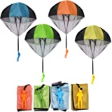 FUNVCE Parachute Hand Throw Toy Set, 4pcs Parachute Toy for Kids, Outdoor Toys for Children