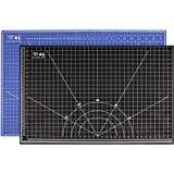 Profi-Schneidematte A1= 60x90cm beidseitig bedruckt: cm & inch, selbstheilend, zweifarbig blau/schwarz, 3mm stark