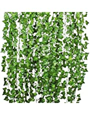 TDas Artificial Ivy Garlands Leaves Greenery Hanging Vine Creeper Plants Bunch for Home Decor maindoor Wall Door Balcony Office Decoration Photos Party Festival Craft -Each 6.7 ft (6 Pcs)