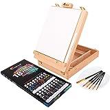 Zenacolor Complete Art Set met Case en Table Ease, 18 Buizen van Acrylverf, 6 Verfpenselen voor Kunstenaars - 24x30cm Canvas,