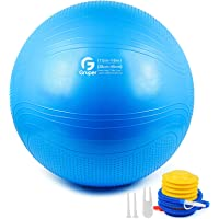 Gruper Yoga Stability Ball - Extra Thick Exercise Ball for Fitness Balance Workout - Anti Burst Chair for Home and…