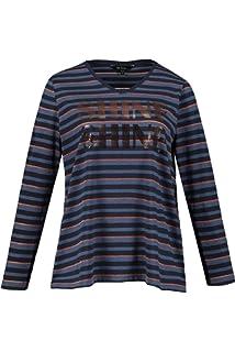 f346c7f78d1 Ulla Popken Femme Grandes Tailles T-Shirt col V rayé et imprimé en Coton  719099