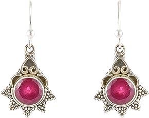 Handicraft 92.5 Sterling Silver Work Wear Ruby Drop Silver Earrings for Girls (AA925130)