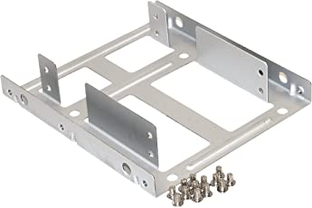 "Storite Solid Steel SSD/HDD 2.5"" to 3.5"" Mounting Bracket/Kit (Silver Steel)"