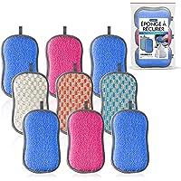 Eponge Lavable 9 Pcs 3 couleurs | Eponge Vaisselle Ecologique Lavable | Eponge Microfibre Antibacterienne