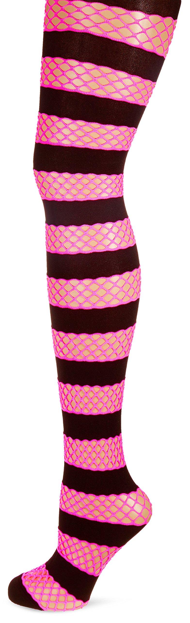 Striped Net Pantyhose Black/N.Pink