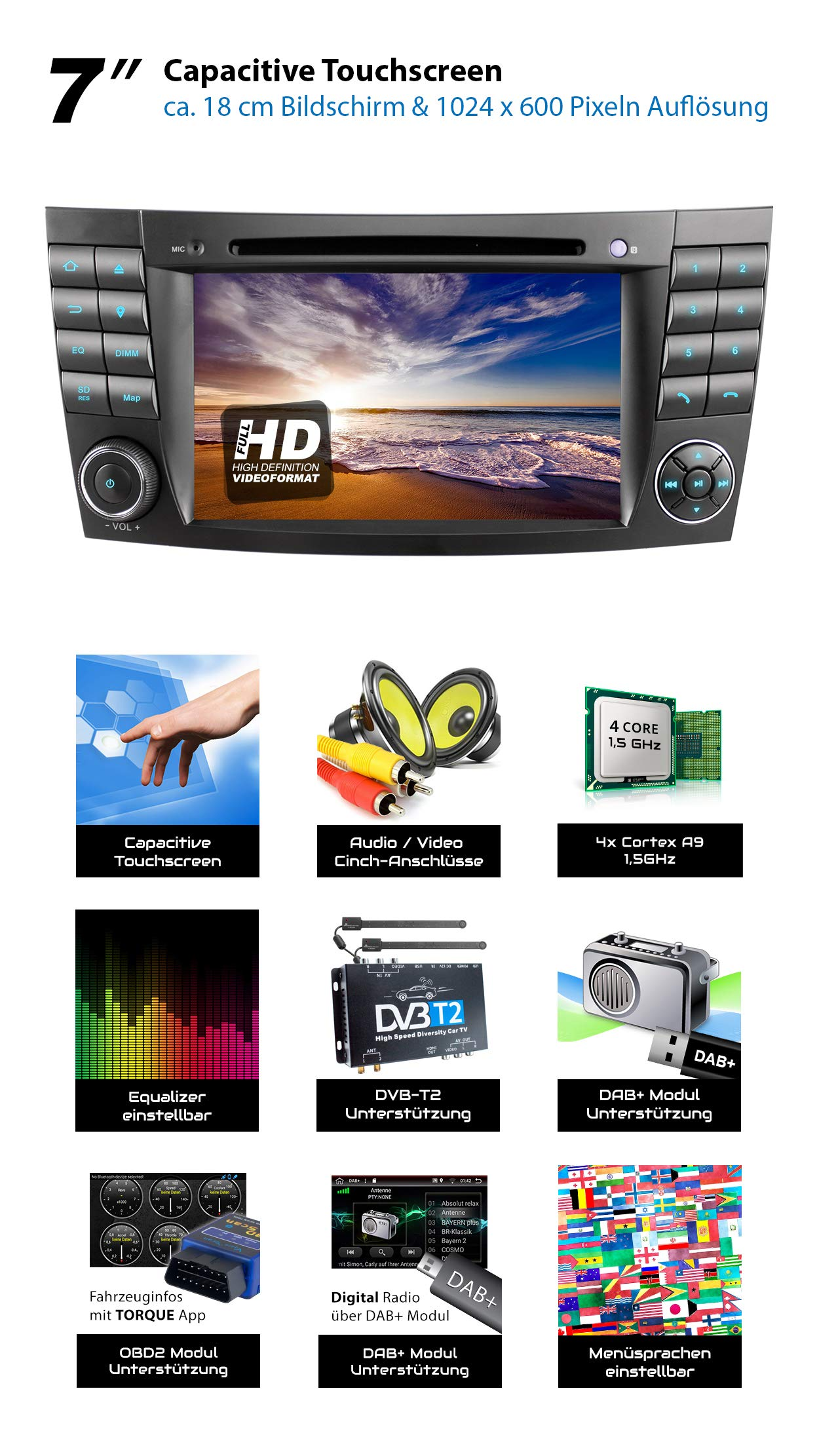 XOMAX-XM-08ZA-Autoradio-passend-fr-Mercedes-W211-W219-W463-mit-Android-81-4Core-GPS-Navigation-DVD-CD-I-Support-WiFi-4G-DAB-OBD2-I-Bluetooth-7Zoll-18cm-Touchscreen-USB-SD