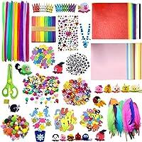 DOITEM D'artisanat pour Les Enfants - Plus 1200 Pcs de d'art et D'artisanat Colorés et Créatifs, Comprend Colle…