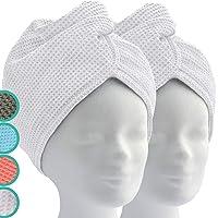 Serviette Microfibre Cheveux - Serviette Cheveux avec Bouton (Lot de 2, Blanc) - ELEXACARE Serviette Microfibre Cheveux…