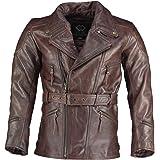 Gallanto Eddie Cross Belt Mens 3/4 Motorcycle Long Biker Dark Brown Vintage Leather Jackets