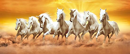 Walls and Murals Vinyl 7 Horses Running Painting Peel and Stick Poster(10x24-inch, Multicolour, Washable, Non-Tearable)
