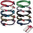 Set di braccialetti intrecciati da 10 pezzi per uomo donna, braccialetto da surf nautico colorato in corda marina per uomo uomo ragazzi, braccialetti regolabili fatti a mano in corda di corda blu navy