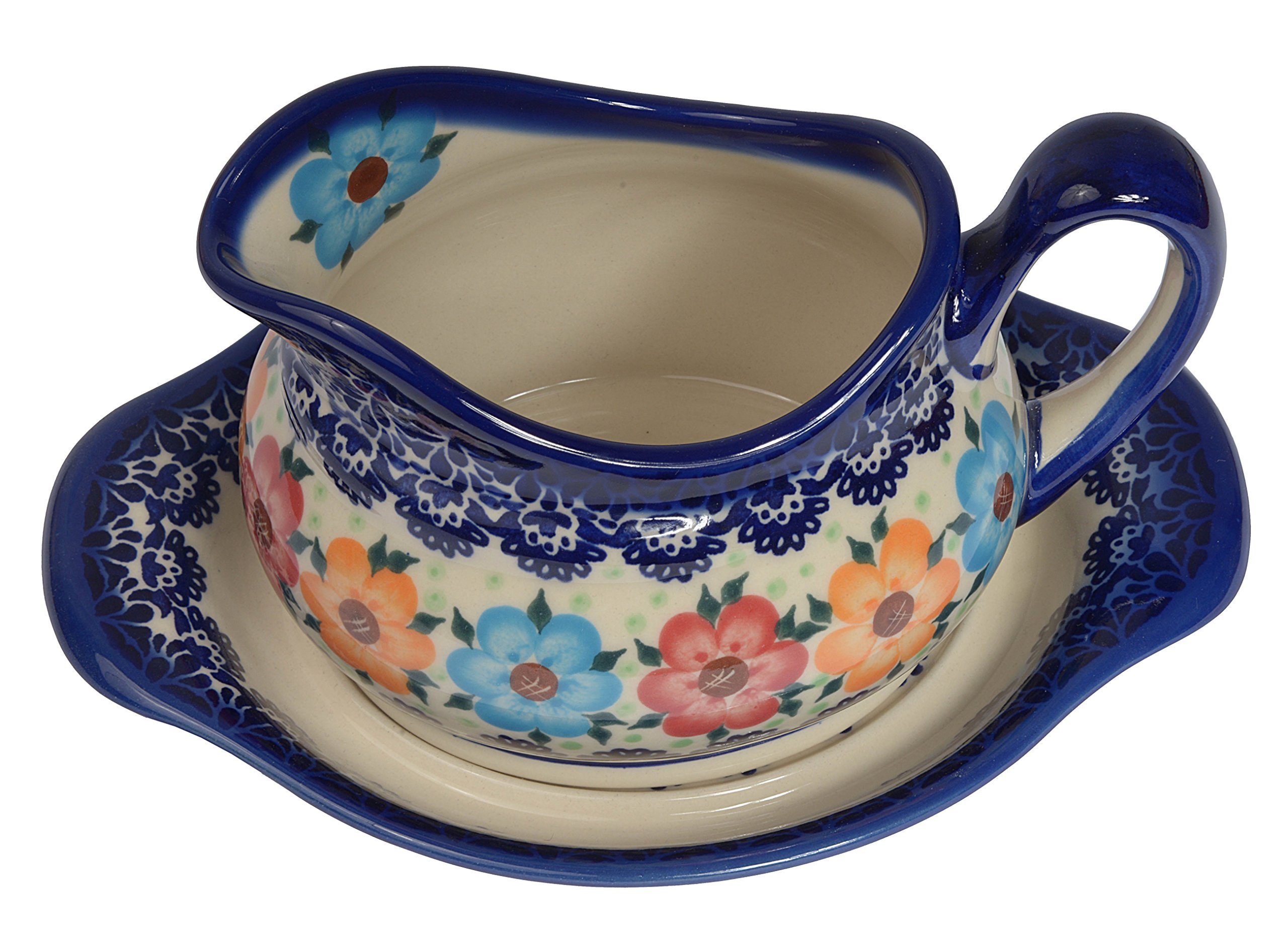 Traditional Polish Pottery, Handcrafted Ceramic Gravy Sauce Boat and Tray (630ml), Boleslawiec Style Pattern, S.301.BLUELACE