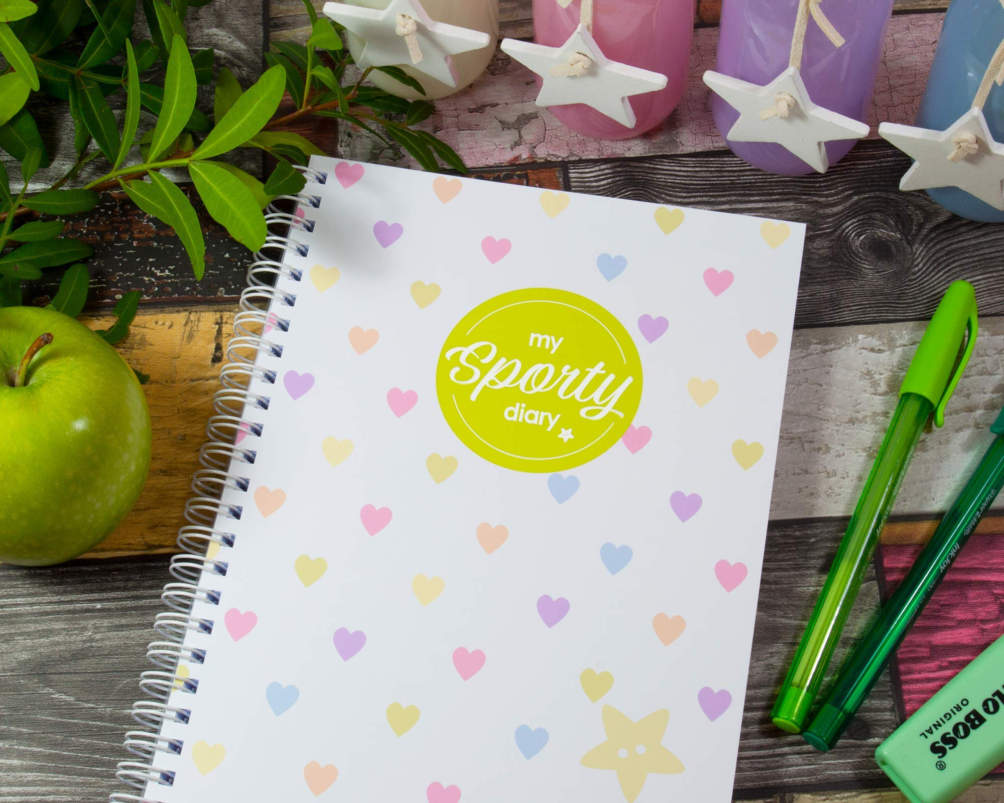 My Sporty Diary (12 meses) planificador de ejercicios, planificador de fitness, diario de ejercicios, hecho a mano, A5… 6