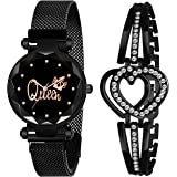 CERO Black Magnet Strap Analogue Women's and Girls Watch Sweet Heart Black Bracelet Combo for Girl's & Women's Watch (Set of