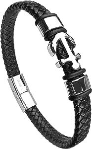 AURSTORE Bracelet en Cuir Véritable/Acier Inoxydable pour Hommes ou Femmes