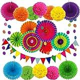 Zerodeco Decoración de la Fiesta, 21 Piezas Abanicos de Papel Bola de Nido Pom Poms Ventilador Cumpleaños Boda Carnaval Bebé