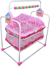 Flipzon Baby Swing Cradle Jhula with Mosquito Net for New Born Baby (J10) - Pink