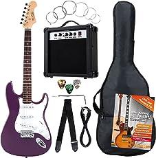 Rocktile Banger's Pack Komplettset E-Gitarre Violett (Verstärker, Tremolo, Tasche, Kabel, Gurt, Plecs, Ersatzsaiten und Schule mit CD/DVD)
